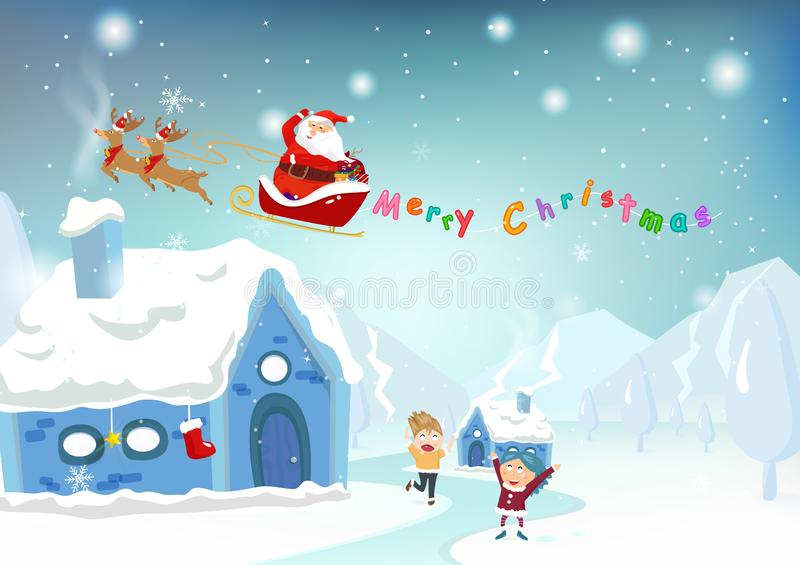 Merry Christmas, Santa Claus surprise gift for kids, cute cartoon character fantasy, greeting card poster, snow falling, winter i stock illustration