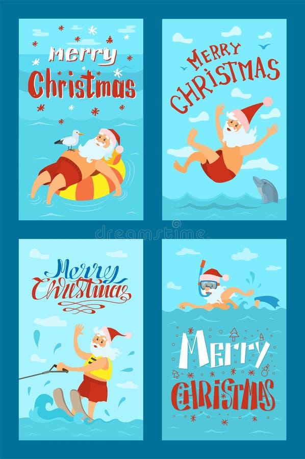 Merry Christmas Santa Claus Water Activities, Rest vector illustration