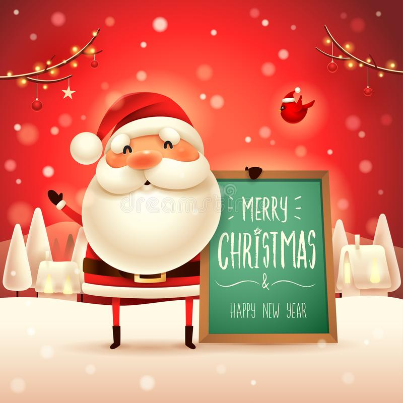 Free Merry Christmas! Santa Claus With Message Board In Christmas Snow Scene Landscape Stock Photos - 132729113