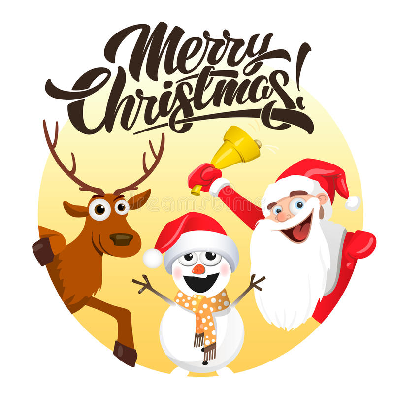 Merry Christmas, Santa deer and snowman royalty free illustration