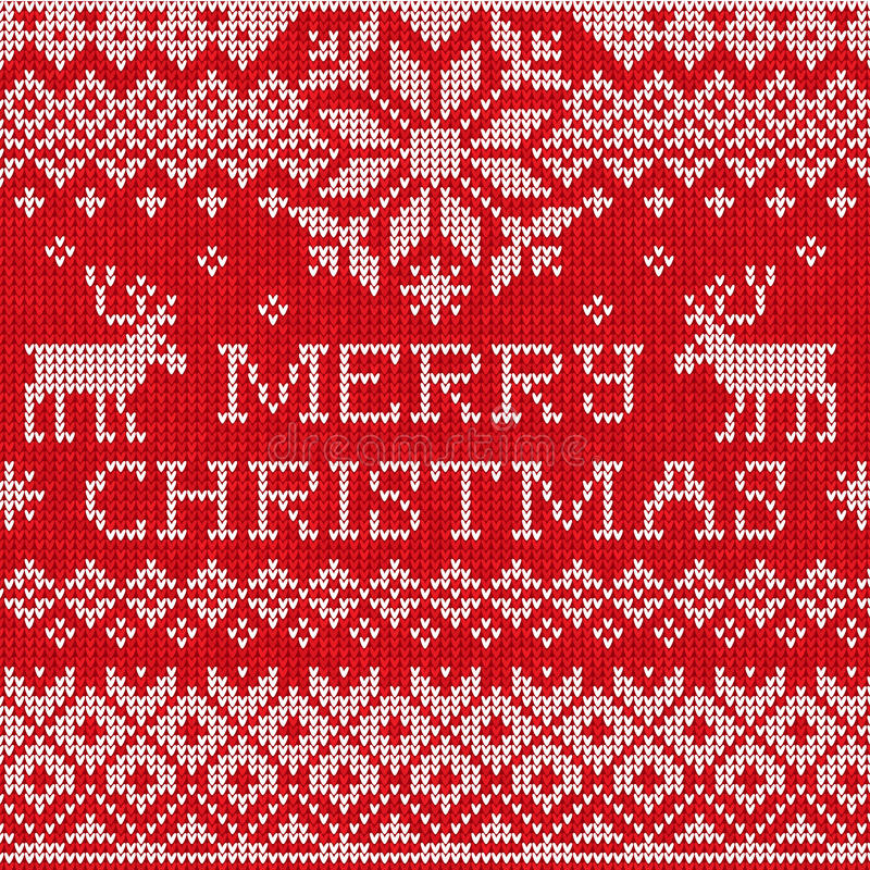 Free Merry Christmas: Scandinavian Style Seamless Knitted Pattern Wit Stock Photography - 35359382