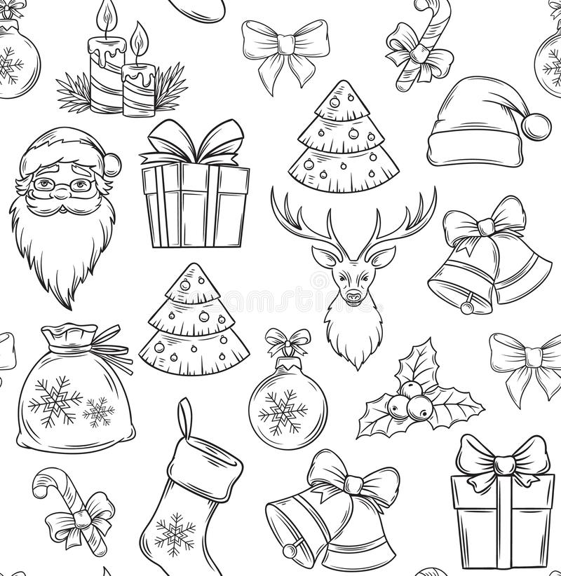 Free Merry Christmas Seamless Pattern Stock Image - 130369371