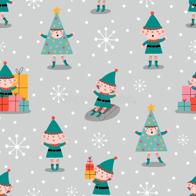 Merry Christmas seamless pattern with Elves,in . royalty free illustration