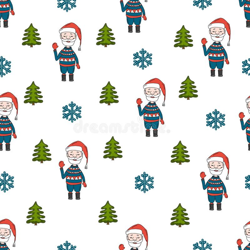 Merry Christmas seamless pattern with Santa Claus with Christmas tree and snowflakes on white background. Doodle style stock illustration