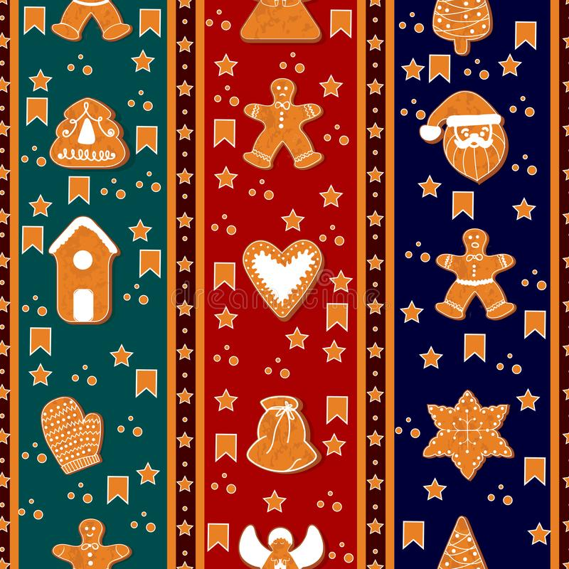 Merry Christmas seamless vertical border pattern. Gingerbreads. Happy winter holidays poster. New year. Christmas holiday banner royalty free illustration