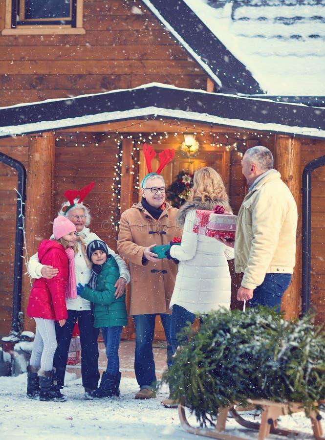 Merry Christmas - season, family, gifts, holiday and people. Merry Christmas concept- season, family, gifts, holiday and people royalty free stock image