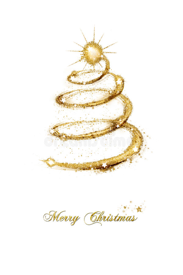 Merry Christmas seasonal greeting card. With a spiral abstract tree of sparkling gold glitter decorated with stars and text isolated on white background stock images