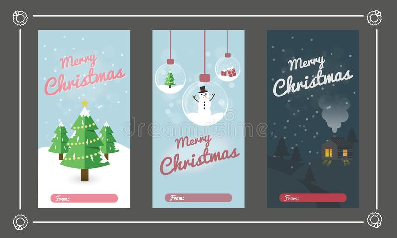 Christmas Greeting Card Set. Merry Christmas Text Greeting Card Collections with Christmas Elements. Vector illustration royalty free illustration