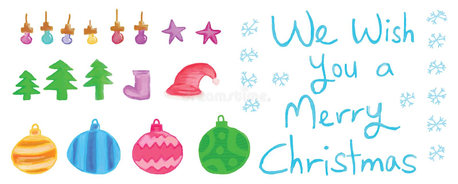 Merry Christmas set. This illustration is drawing Merry Christmas decoration in set and white color background royalty free illustration