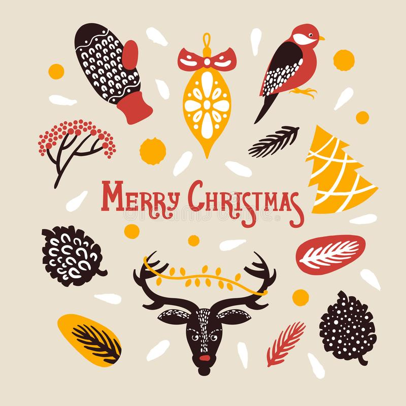 Merry Christmas. Set with lettingering mittens deer snowflakes a bird berries cones spruce. Vector illustration royalty free illustration