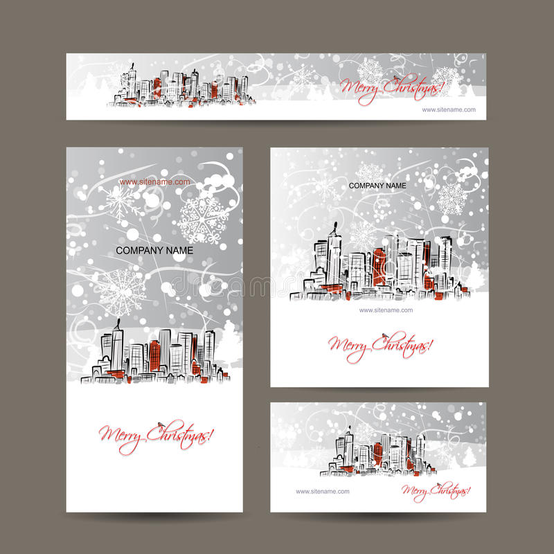 Merry christmas, set postcards with cityscape royalty free illustration