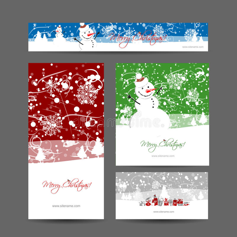 Merry christmas, set of postcards with winter tree stock illustration