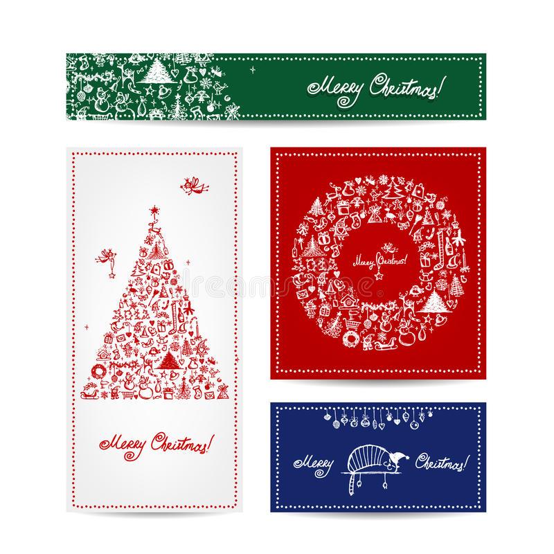 Merry christmas, set of postcards with winter tree royalty free illustration