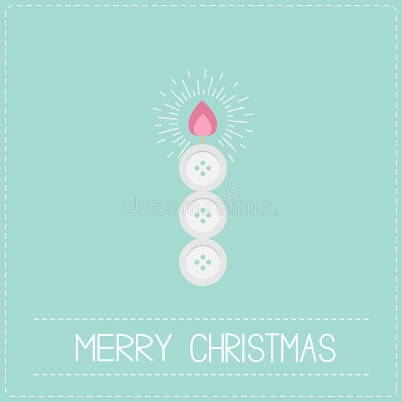 Merry Christmas shining candle button applique Dash line Flat design. Vector illustration stock illustration