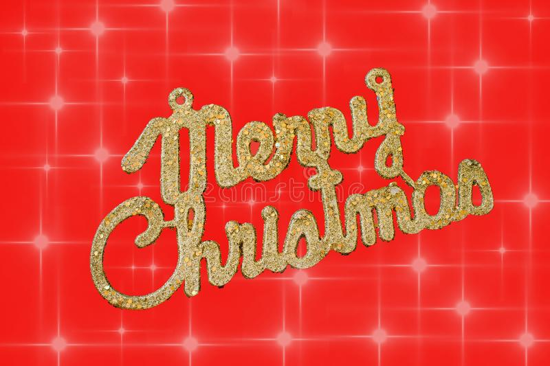 Merry Christmas golden text on a red background with stars vector illustration