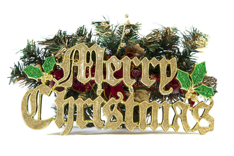 Merry christmas sign. A merry christmas sign with christmas ornaments isolated on white stock image