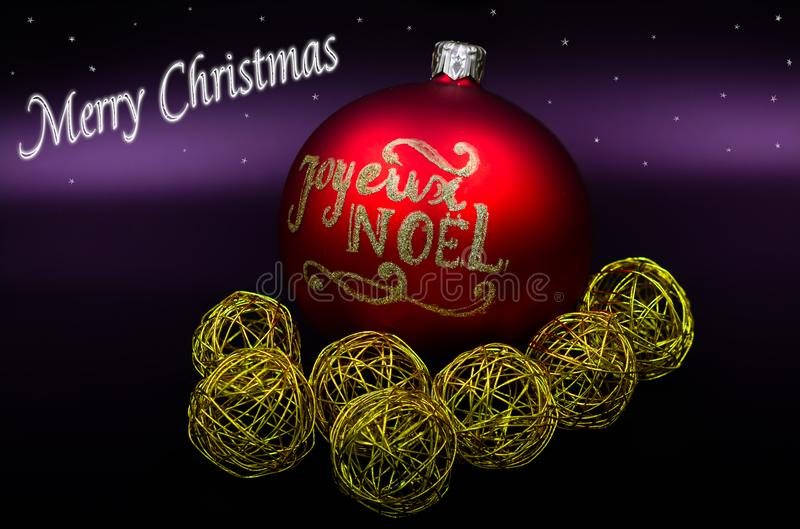 Merry Christmas sign and balls red and gold stock images