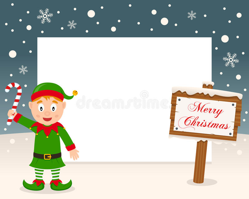 Merry Christmas Sign Frame - Green Elf royalty free stock images