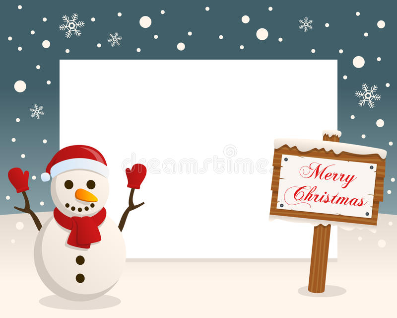 Merry Christmas Sign Frame & Snowman royalty free stock image