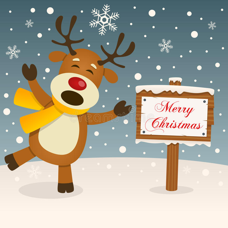 Merry Christmas Sign - Happy Reindeer royalty free stock image