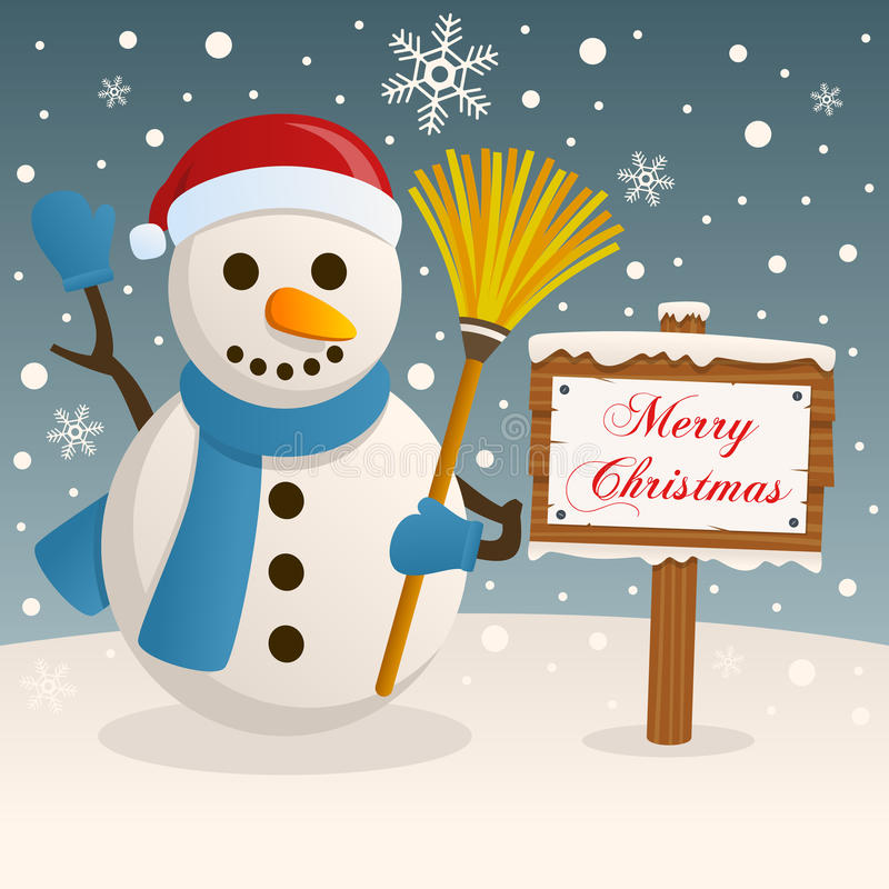 Merry Christmas Sign - Happy Snowman royalty free stock photos