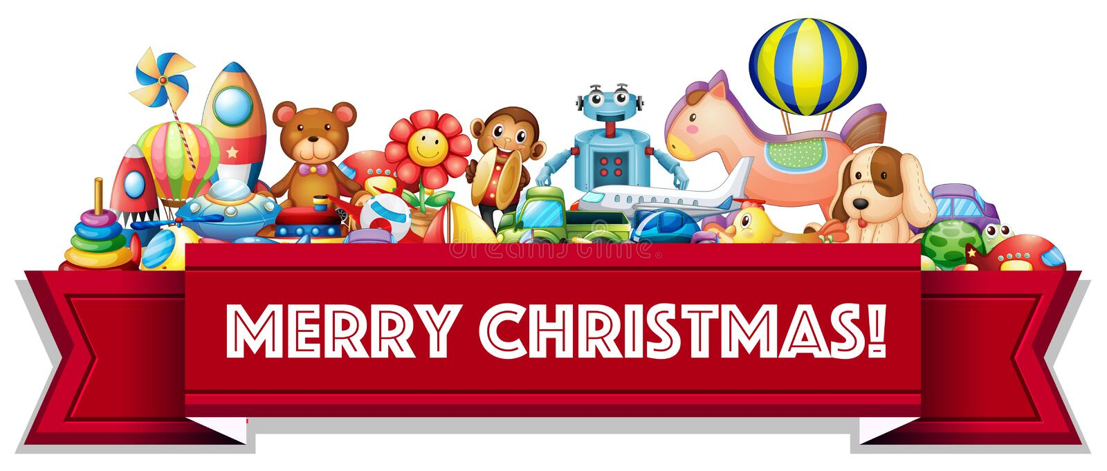 Merry Christmas sign with many toys stock illustration