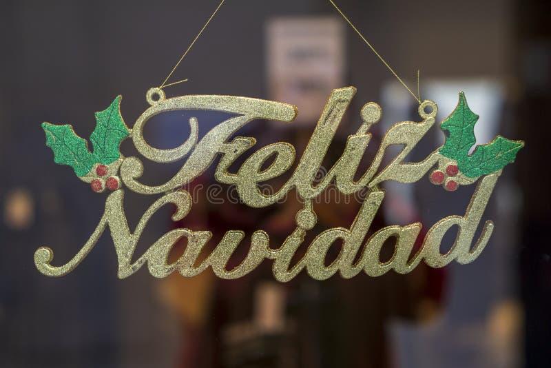 Merry Christmas Sign in Spanish Feliz Navidad Cadiz Andalusia. Spain stock image