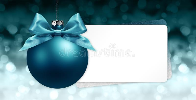 merry christmas signboard or gift card, blue ball with blue ribbon bow on blurred red xmas lights, copy space blank background stock illustration