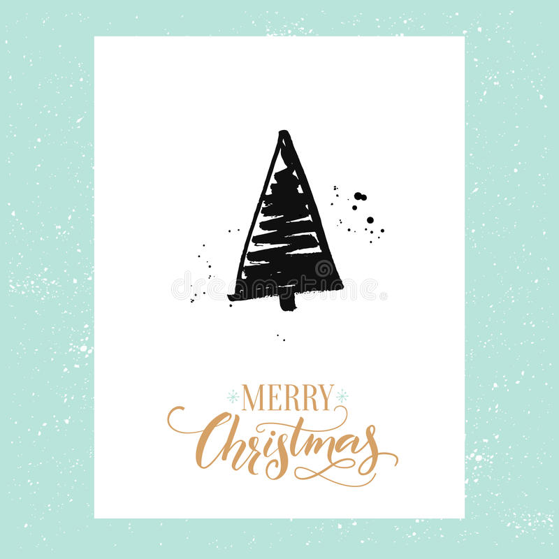 Merry Christmas simple greeting card with hand drawn Christmas tree. Vector design template with calligraphy type. stock illustration