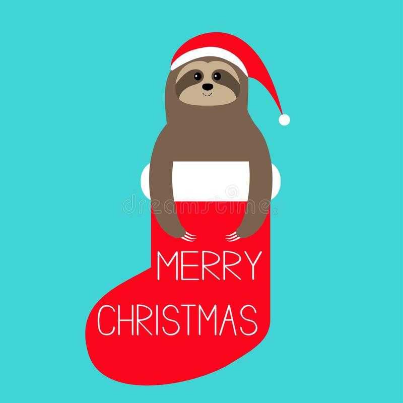 Merry Christmas. Sloth in red sock. Santa hat. Slow down, Cute cartoon funny kawaii lazy character. Happy New Year. T-shirt,. Greeting card, poster print Flat royalty free illustration