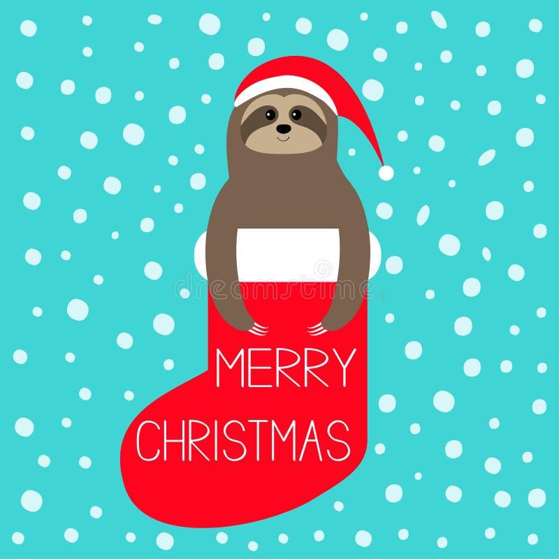 Merry Christmas. Sloth in red sock. Santa hat. Snow flake. Slow down, Cute cartoon funny kawaii lazy character. Happy New Year. T-. Shirt, greeting card, poster vector illustration