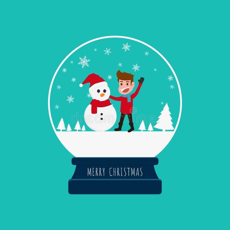 Merry christmas snow globe with a boy and snowman. stock illustration