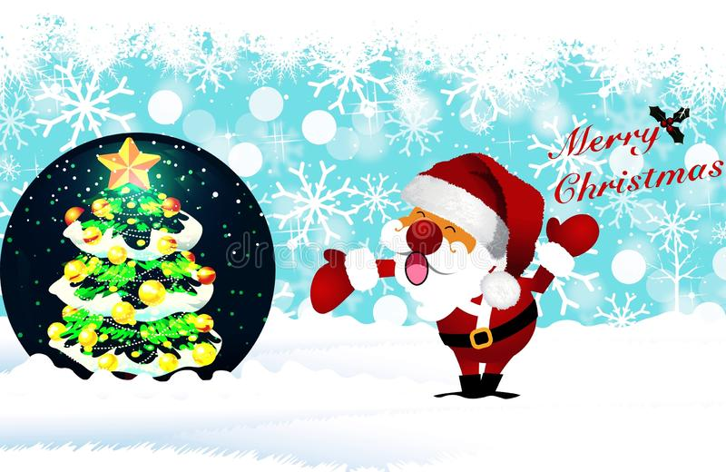 Merry christmas in snow globe and christmas tree stock image