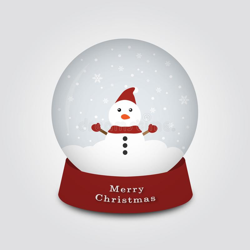 Merry Christmas snow globe with snowman on a cold day, Vector illustration. stock illustration