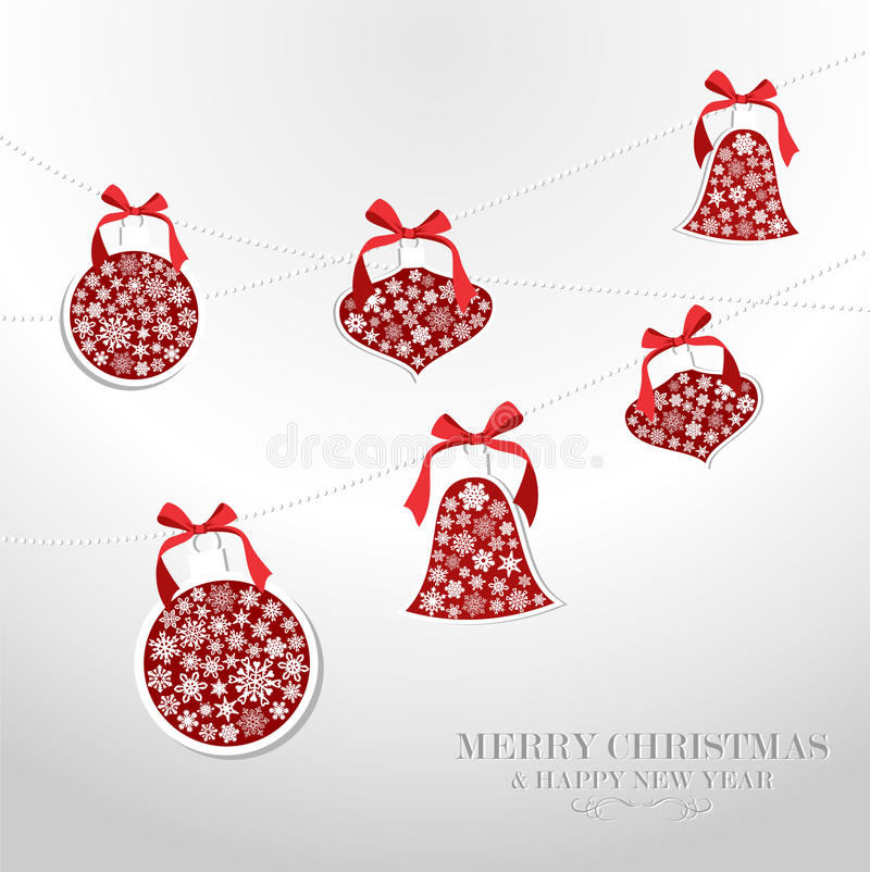 Merry Christmas snowflakes baubles. Merry Christmas and Happy new year snowflakes baubles greeting card. Vector illustration layered for easy manipulation and vector illustration