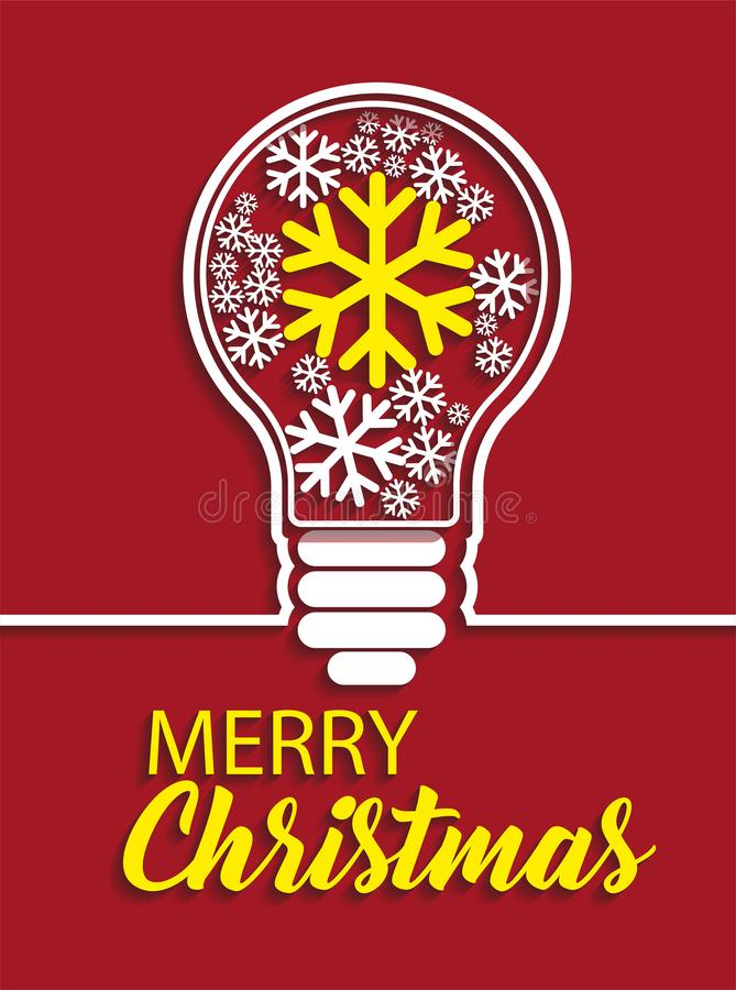 Merry Christmas snowflakes in light bulb on red background. stock illustration