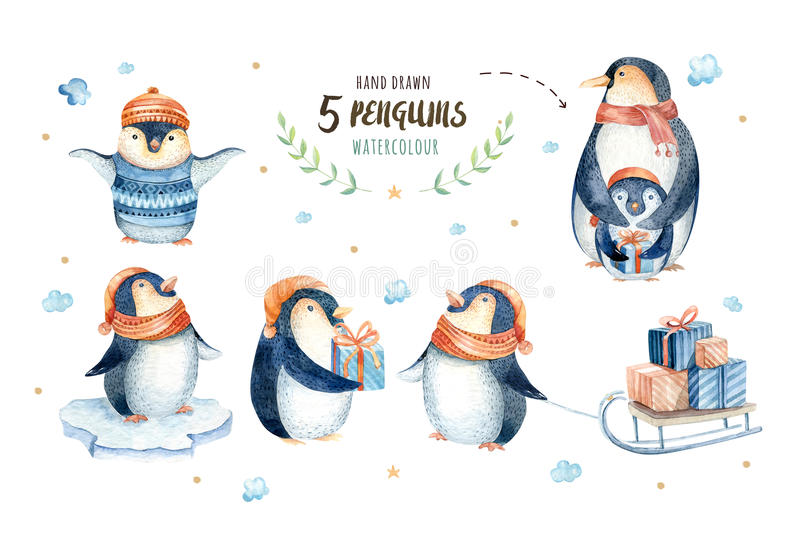 Merry christmas snowflakes and penguins. Hand drawn illustration stock illustration