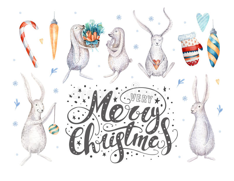 Merry christmas snowflakes and rabbits. Hand drawn bunny illustration, for your design. xmas bunnies design elements isolated on stock illustration