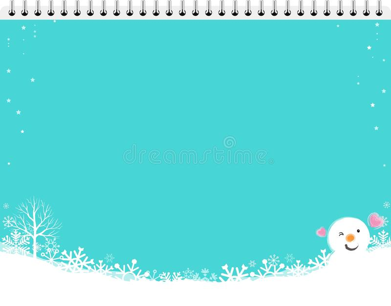 Merry christmas and snowman background stock illustration