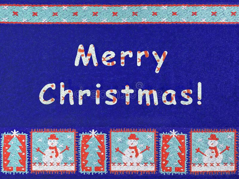 Merry Christmas, snowman and snowflakes royalty free stock image