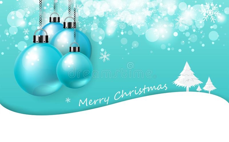 Merry Christmas, soft blue card, poster invitation luxury background texture, colorful Christmas balls shiny and tree with snow stock illustration