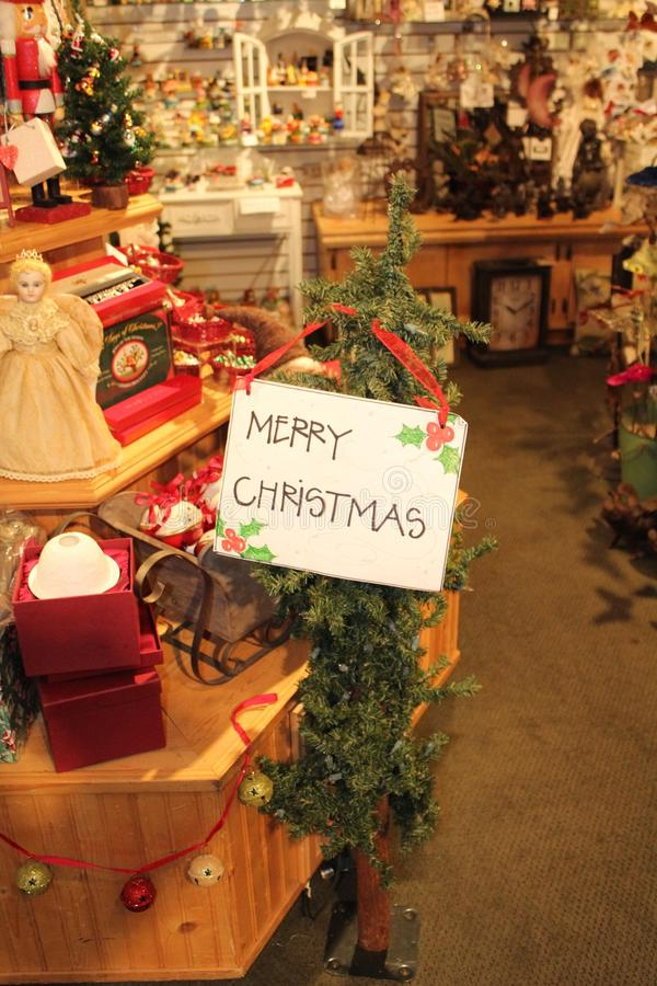 Merry Christmas specialty store. Holiday specialty store with all seasonal Christmas decorations royalty free stock images