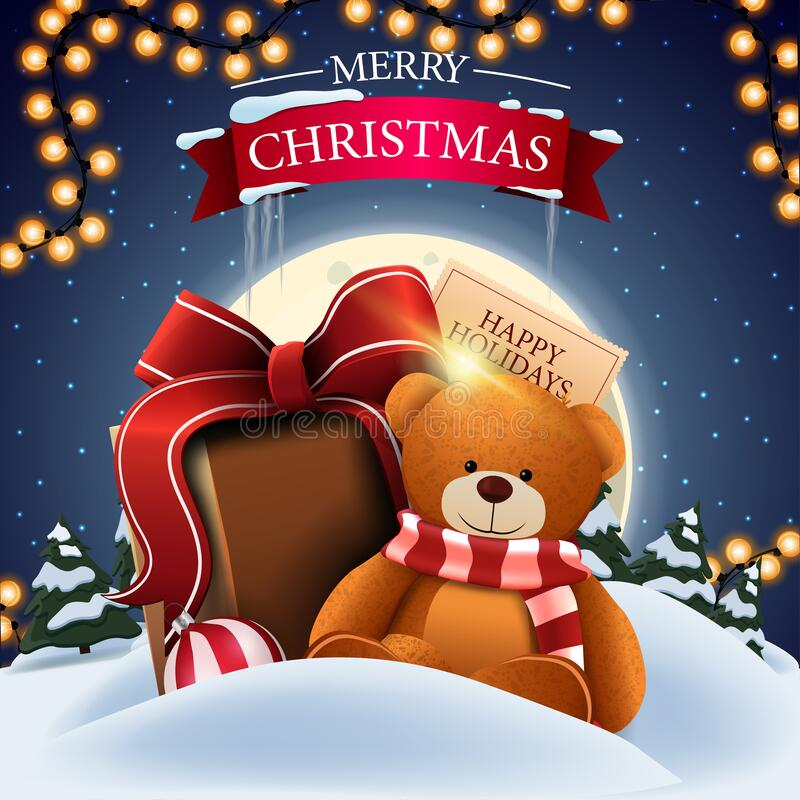 Free Merry Christmas, Square Postcard With Winter Landscape, Big Full Moon, Starry Sky And Teddy Bear With Present Royalty Free Stock Photography - 194279047