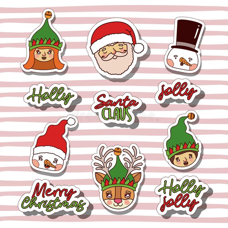 Merry christmas with sticker faces of gnomes and snowman and santa claus and reindeer with background color lines royalty free illustration