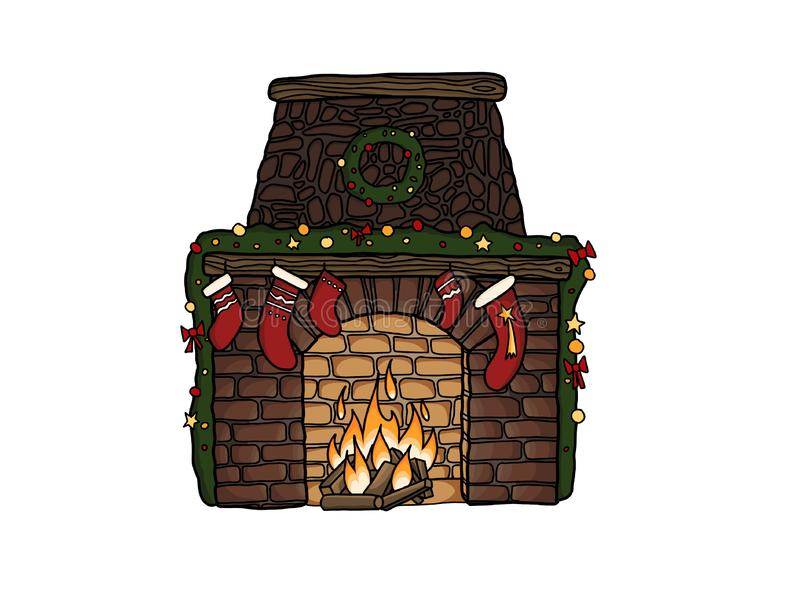 Merry Christmas. Stylish fireplace with christmas stockings, wreath, ornaments at warm fire, isolated on white. Hand drawn stock illustration