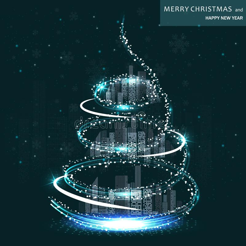 Merry Christmas. Stylish New Year Banner with Magic Christmas Tree around Night Business City. Global Seasonal Celebrations Concept. Vector Illustration stock illustration