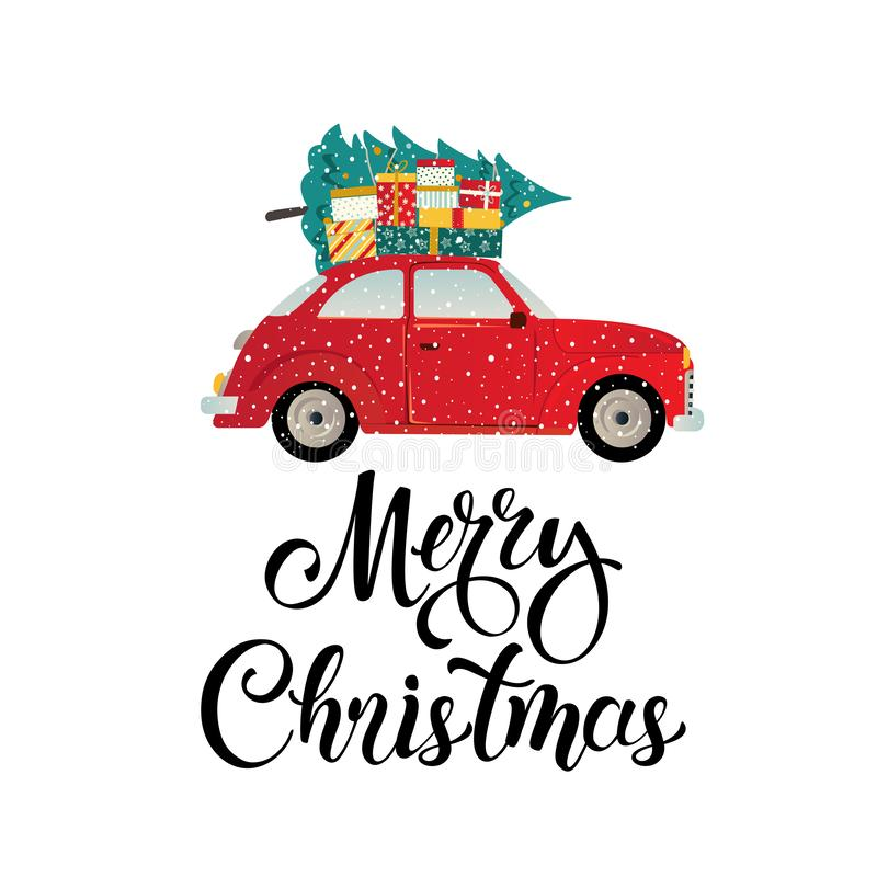 Merry christmas stylized typography. Vintage red car with christmas tree and gift boxes. Vector flat style illustration. stock illustration