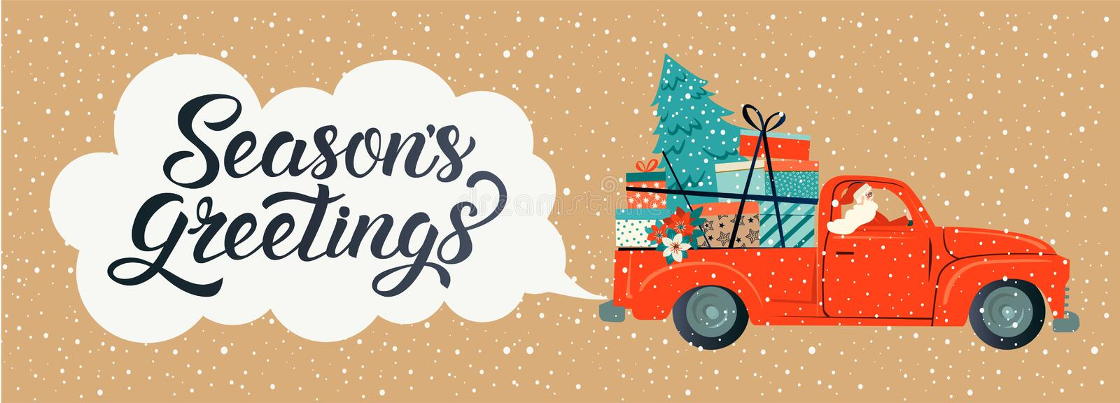 Merry christmas stylized typography. Vintage red car with santa claus, christmas tree and gift boxes. Vector flat style stock illustration