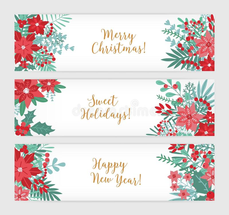 Merry Christmas, Sweet Holidays and Happy New Year. Collection of festive horizontal banner templates decorated with stock illustration