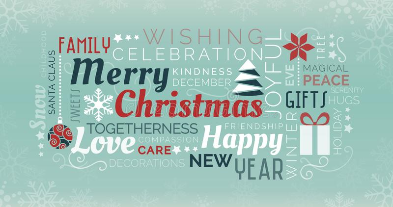 Merry Christmas tag cloud. Merry Christmas and happy new year tag cloud with words and icons royalty free illustration